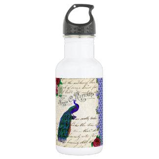 ヴィンテージの孔雀のコラージュ ウォーターボトル