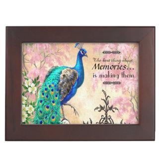 ヴィンテージの孔雀のマホガニーの記念品の記憶箱 ジュエリーボックス