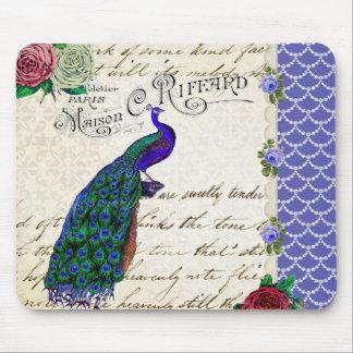 ヴィンテージの孔雀の歌のコラージュ マウスパッド