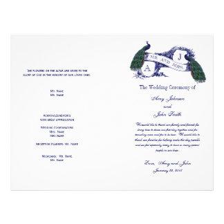 ヴィンテージの孔雀の結婚式プログラム チラシ