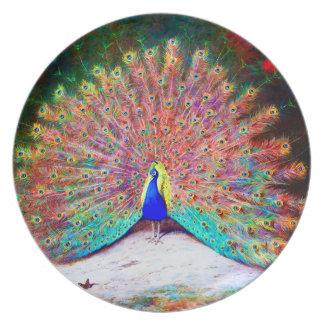 ヴィンテージの孔雀の絵画 お皿