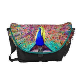 ヴィンテージの孔雀の絵画 メッセンジャーバッグ