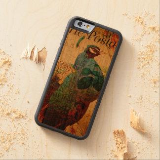 ヴィンテージの孔雀の郵便はがき CarvedチェリーiPhone 6バンパーケース