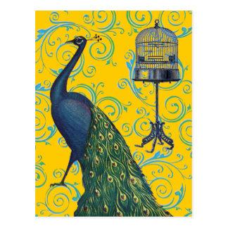ヴィンテージの孔雀及びおり ポストカード