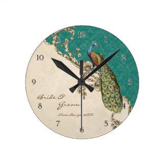 ヴィンテージの孔雀及びエッチングの名前入りな結婚式 ラウンド壁時計