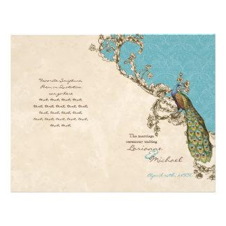 ヴィンテージの孔雀及びエッチングの結婚式プログラム チラシ