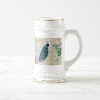 ヴィンテージの孔雀、花および蝶 ビールジョッキ