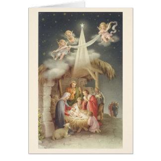 ヴィンテージの宗教クリスマスの出生の挨拶状 カード