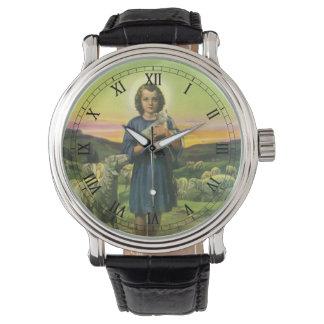ヴィンテージの宗教、ベビーの子ヒツジを持つ羊飼いの男の子 腕時計