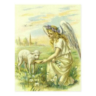 ヴィンテージの宗教、子ヒツジとのイースタービクトリアンな天使 ポストカード