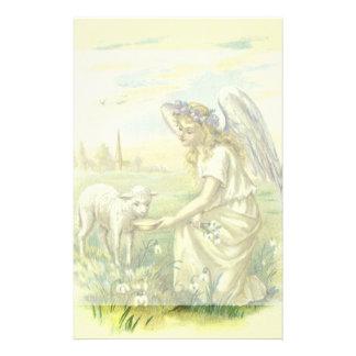ヴィンテージの宗教、子ヒツジとのイースタービクトリアンな天使 便箋