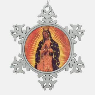 ヴィンテージの宗教、聖母マリアのグアダルペの女性 スノーフレークピューターオーナメント