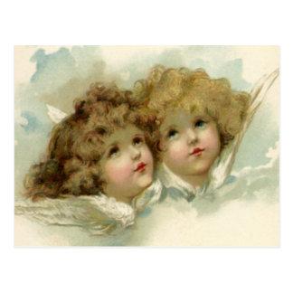 ヴィンテージの宗教、雲のビクトリアンな天使 ポストカード