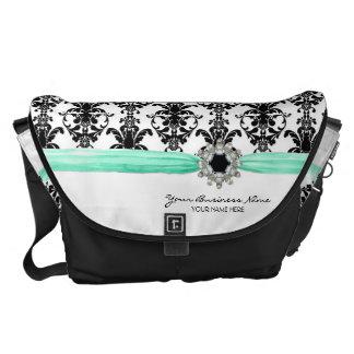 ヴィンテージの宝石のバックルの白黒のダマスク織のリボン メッセンジャーバッグ