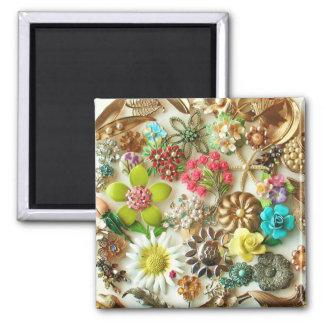 ヴィンテージの宝石の花柄の磁石 マグネット