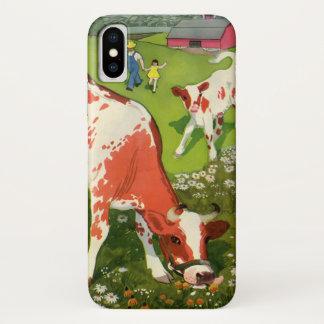 ヴィンテージの家畜、農家と牧草を食べている牛 iPhone X ケース