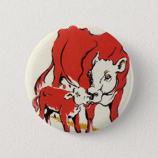 ヴィンテージの家畜、Cow彼女のベビーの子牛を持つママ 5.7cm 丸型バッジ