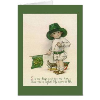 ヴィンテージの小さいアイルランドの男の子のセントパトリックの日カード カード