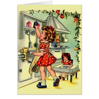ヴィンテージの小さい主婦のメッセージカード カード