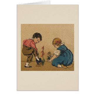 ヴィンテージの小さい庭師のメッセージカード カード
