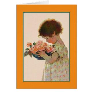 ヴィンテージの小さな女の子およびバラのメッセージカード カード