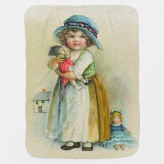 ヴィンテージの小さな女の子のぽっちゃりした頬の帽子の人形 ベビー ブランケット
