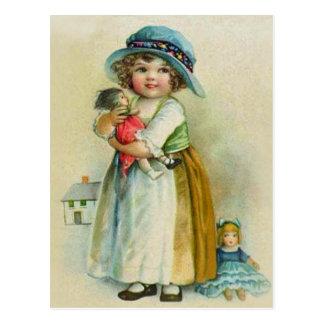 ヴィンテージの小さな女の子のぽっちゃりした頬の帽子の人形 ポストカード