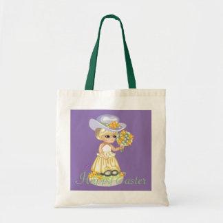 ヴィンテージの小さな女の子のイースター服及びボンネットのトートバック トートバッグ