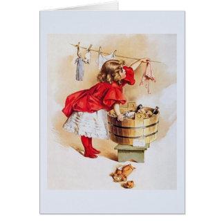 ヴィンテージの小さな女の子のメッセージカード カード