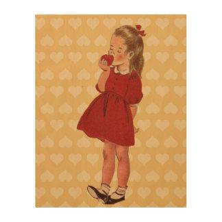 ヴィンテージの小さな女の子の赤い服Apple ウッドウォールアート