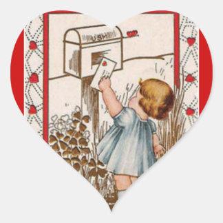 ヴィンテージの小さな女の子の郵送のバレンタインのステッカー ハートシール