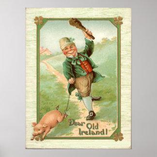 ヴィンテージの小妖精のブタのShillelaghのセントパトリックの日 ポスター