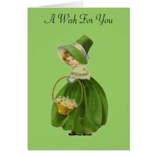 ヴィンテージの少女のセントパトリックの日の挨拶状 カード