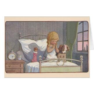 ヴィンテージの就寝時間の祈りの言葉のメッセージカード カード