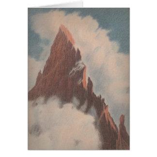ヴィンテージの山景色の景色はユニークな雪を曇らせます カード