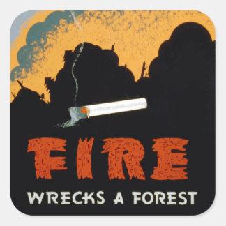 ヴィンテージの山火事の防止|のステッカー スクエアシール