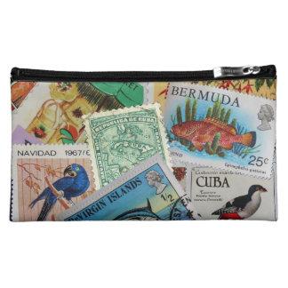 Vintage Island Stamps Bagette Cosmetic Bag
