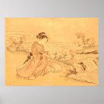 ヴィンテージの川によるアジアプリントの桜 ポスター