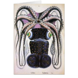 ヴィンテージの巨大なタコかイカの海洋生物動物 カード
