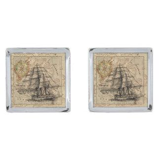ヴィンテージの帆船および古いヨーロッパの地図 シルバー カフスボタン