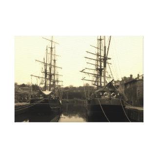 ヴィンテージの帆船のCharlestownコーンウォールの写真 キャンバスプリント