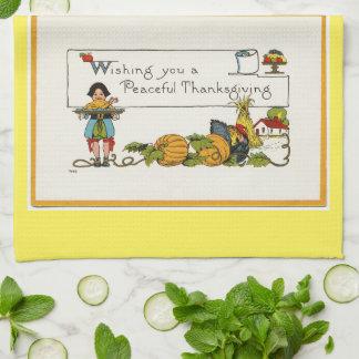 ヴィンテージの平和な感謝祭 キッチンタオル