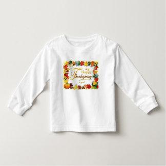 ヴィンテージの幸せな感謝祭のカラフルの葉 トドラーTシャツ