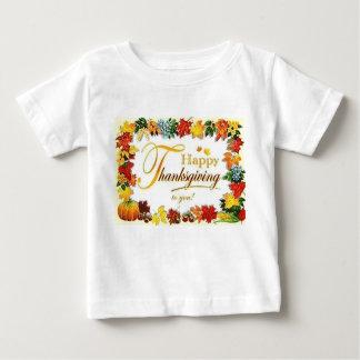 ヴィンテージの幸せな感謝祭のカラフルの葉 ベビーTシャツ