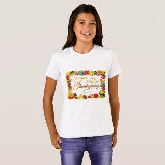 ヴィンテージの幸せな感謝祭のカラフルの葉 Tシャツ