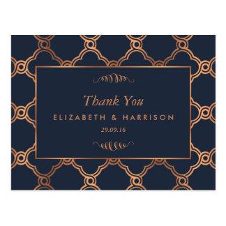ヴィンテージの幾何学的なアールデコのGatsbyの結婚式の感謝 ポストカード