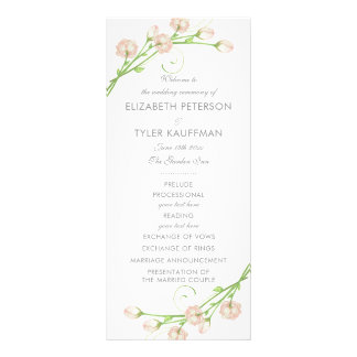 ヴィンテージの庭のバラの結婚式プログラム ラックカード