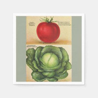 ヴィンテージの庭の野菜芸術1913年 スタンダードカクテルナプキン