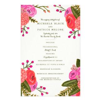 ヴィンテージの庭園の結婚式プログラム チラシ