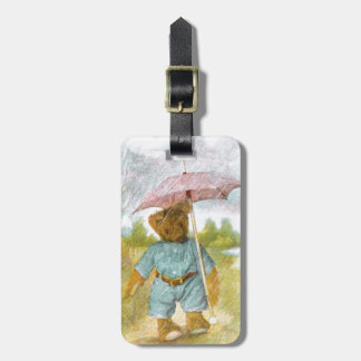 ヴィンテージの引くこと: 雨のテディー・ベア ラゲッジタグ